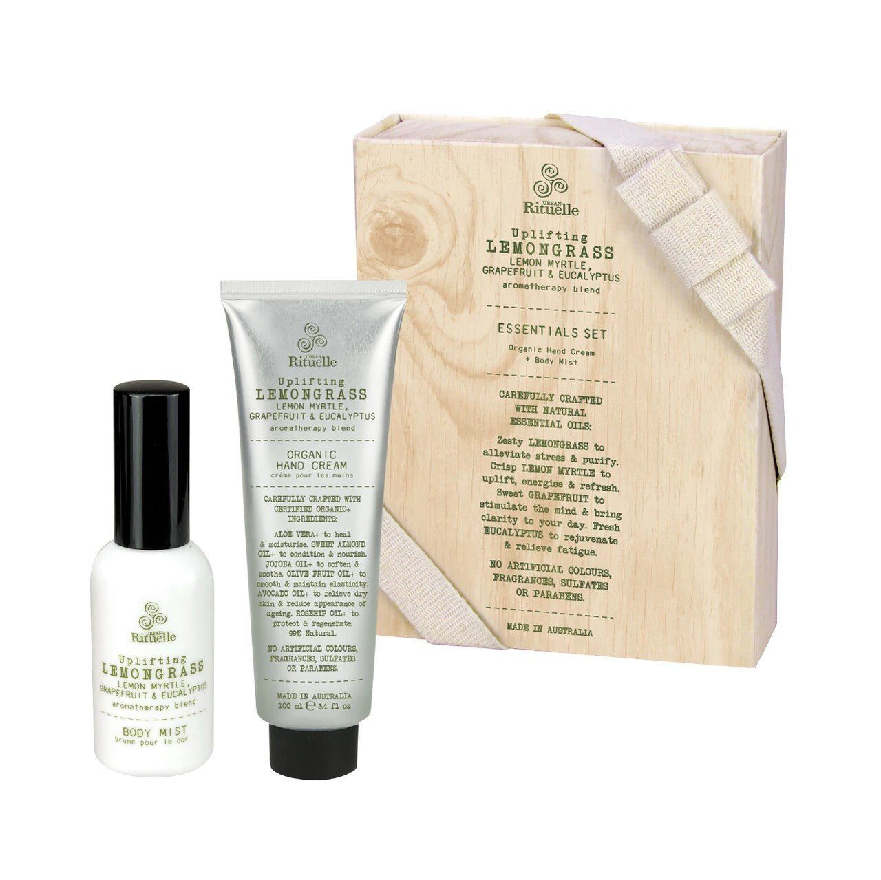 Urban Rituelle Flourish Organics Lemongrass, Lemon Myrtle, Grapefruit & Eucalyptus Blend Essentials Set Urban Rituelle