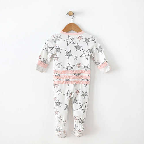 Star Delight Footie with Ruffle - Pink
