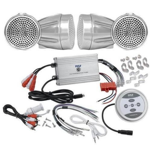 Pyle KTHSP430 1200 Watts Motorcycle/ATV/Snowmobile Sound System with Bluetooth Amplifier(Silver),handle-bar Mount Weatherproof 2.25'' Speakers(Silver), Wires and Adapter Cables