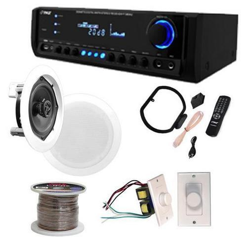 "2 Pairs of 150W 5.25"" In-Wall / In-Ceiling Stereo White Speakers w/ 200W Digital Home Stereo Receiver w/ USB/SD/AUX Input, Remote w/ 2 Volume Controls & 100 ft. Wire"