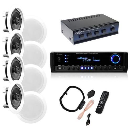 "4 Pairs of 150W 5.25"" In-Wall / In-Ceiling Stereo White Speakers w/ 300W Digital Home Stereo Receiver w/ USB/SD/AUX Input, Remote & 4 Channel High Power Stereo Speaker Selector"