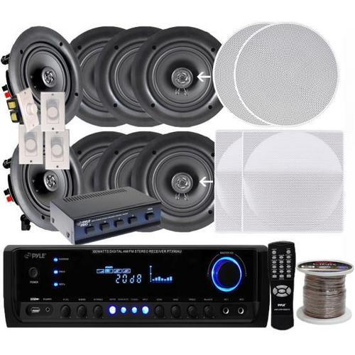 "4 Pairs of 200W 6.25"" In-Wall / In-Ceiling Stereo White Speakers w/ 300W Digital Home Stereo Receiver w/ USB/SD/AUX Input, Remote w/ 4 Channel High Power Stereo Speaker Selector, 4 Volume Controls & 250 ft. Wire"