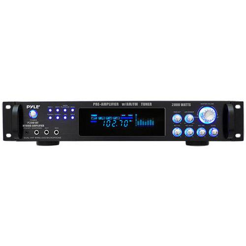 2,000 Watt Hybrid Hybrid Home Stereo Receiver Amplifier with AM/FM Tuner - Audio Inputs & Outputs