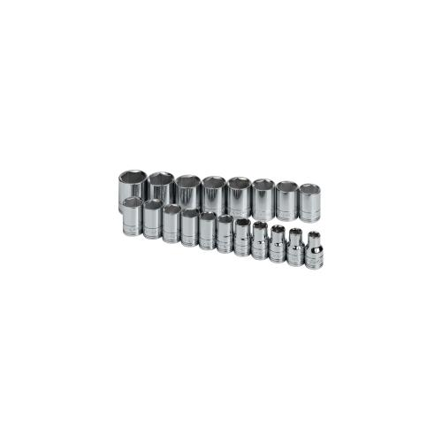 SOCKET SET 1/2IN. DRIVE 19PC METRIC STD 6 POINT