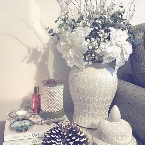 Ginger Jar styled with Artificial Flowers