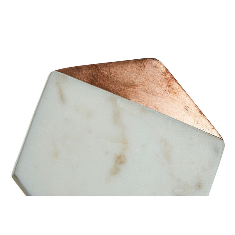 White Marble And Copper Inlay Coasters