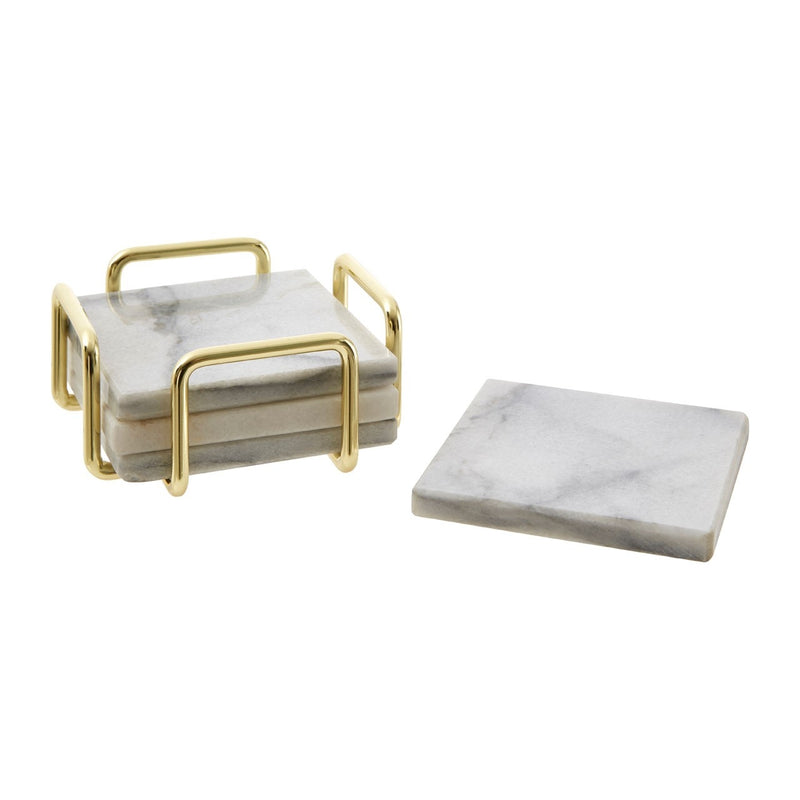 White Marble And Brass Coasters