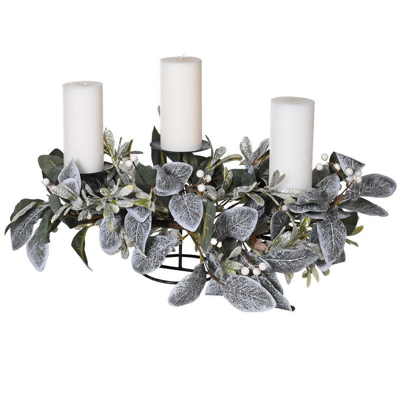 Frosted Eucalyptus and Mistletoe Candle Holder