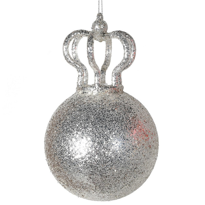 Silver Glitter Crown Bauble