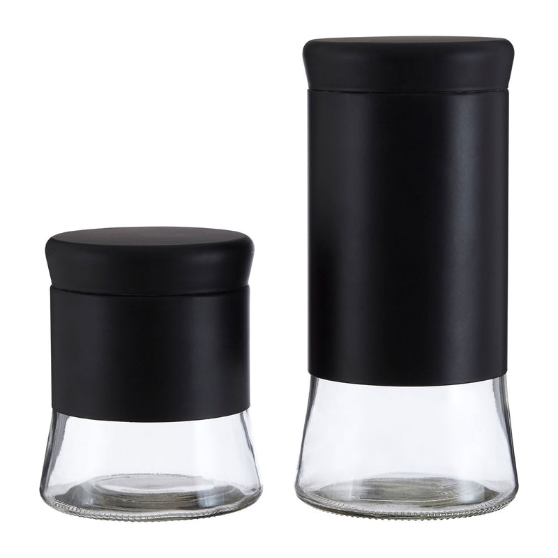Large Black Glass Storage Jar