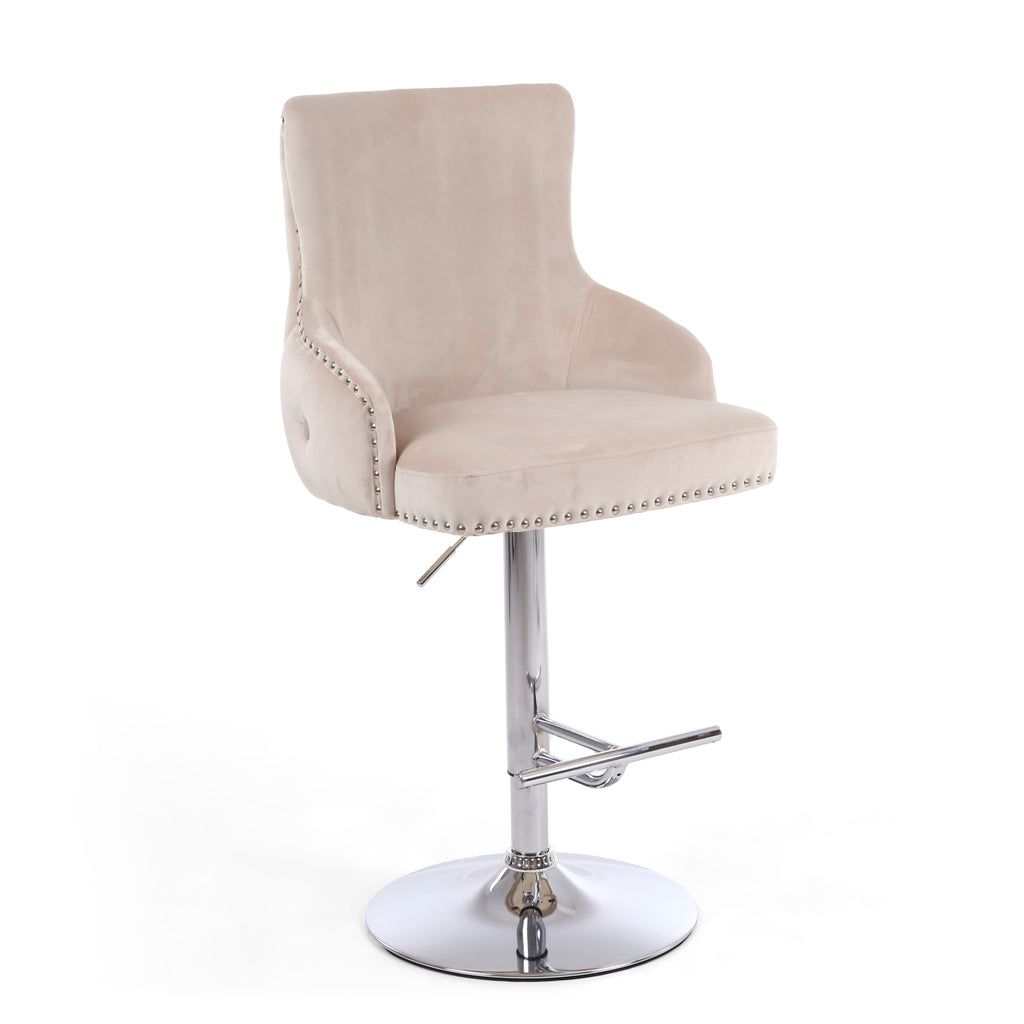 Fitz Mink Brushed Velvet Bar Stool