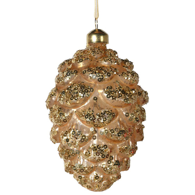 Gold Pinecone With Glitter
