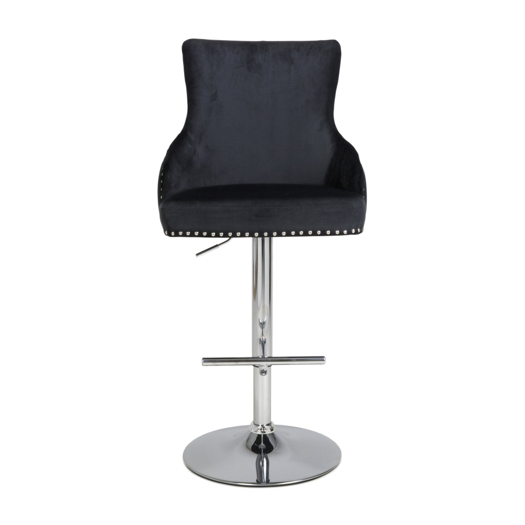 Fitz Black Brushed Velvet Bar Stool