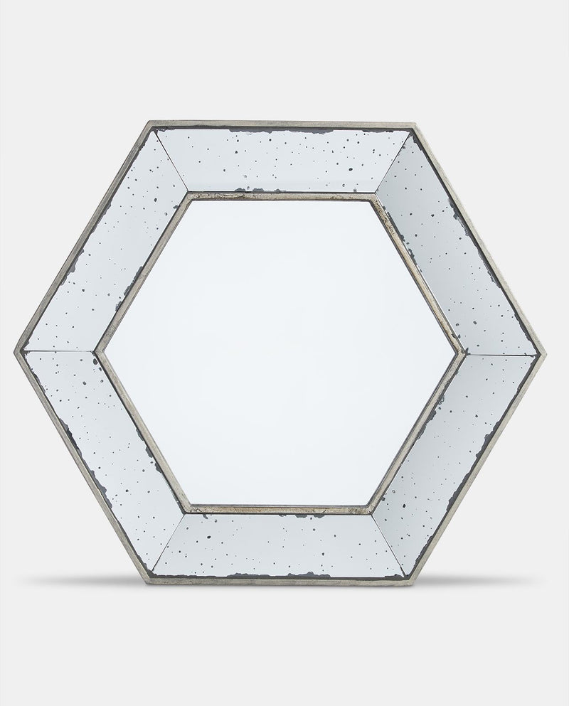 Large Layered Glass Hexagonal Mirror