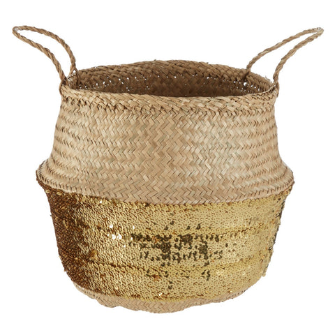 Black And Silver Seagrass Basket