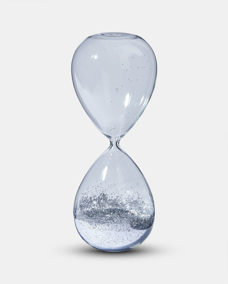Medium Silver Glitter Hour Glass