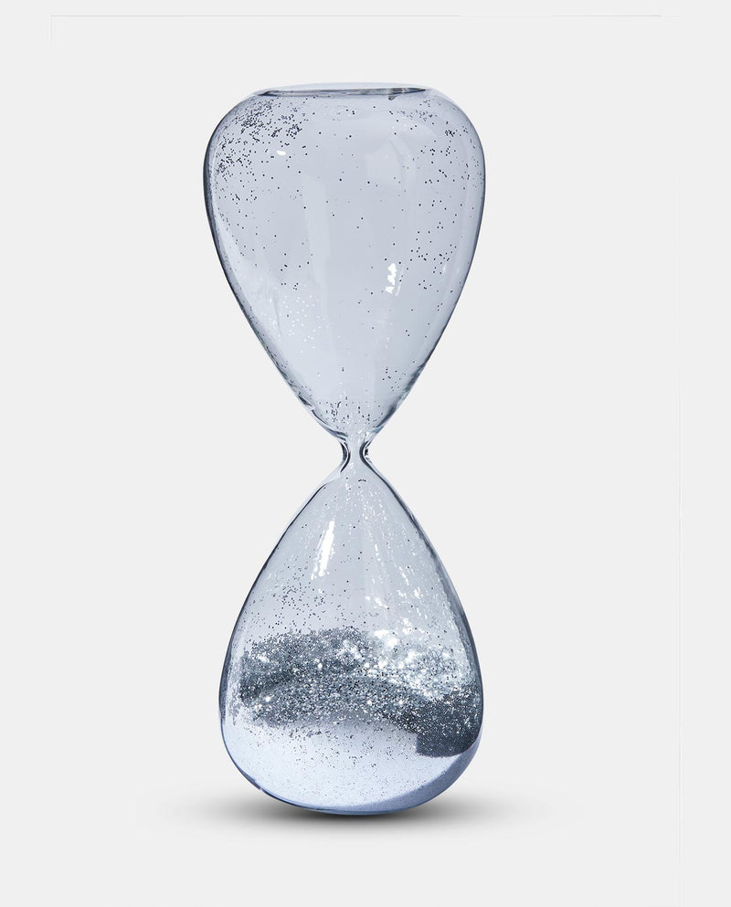 Silver Glitter Hour Glass