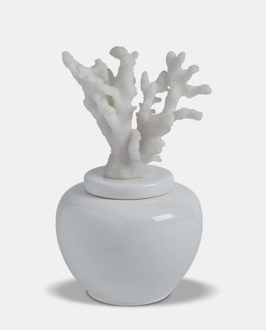 Large White Swirl Lidded Jar