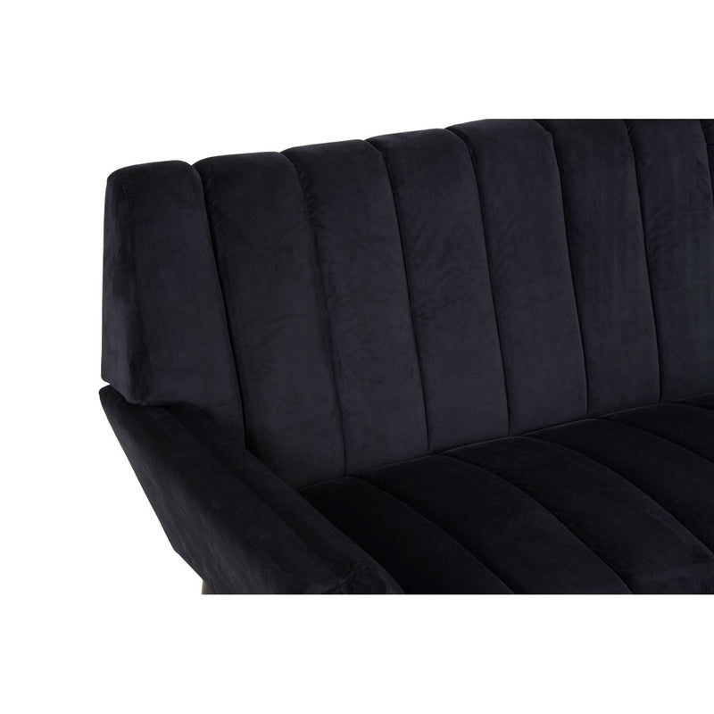 Black Panelled 2 Seater Sofa