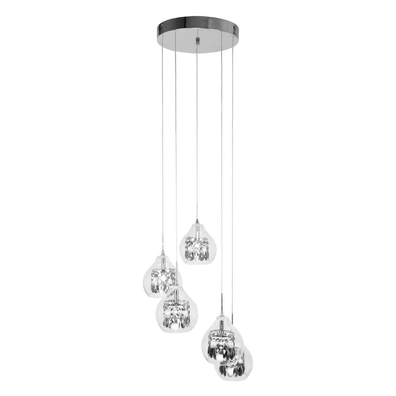Luna Silver 5 Light Pendant