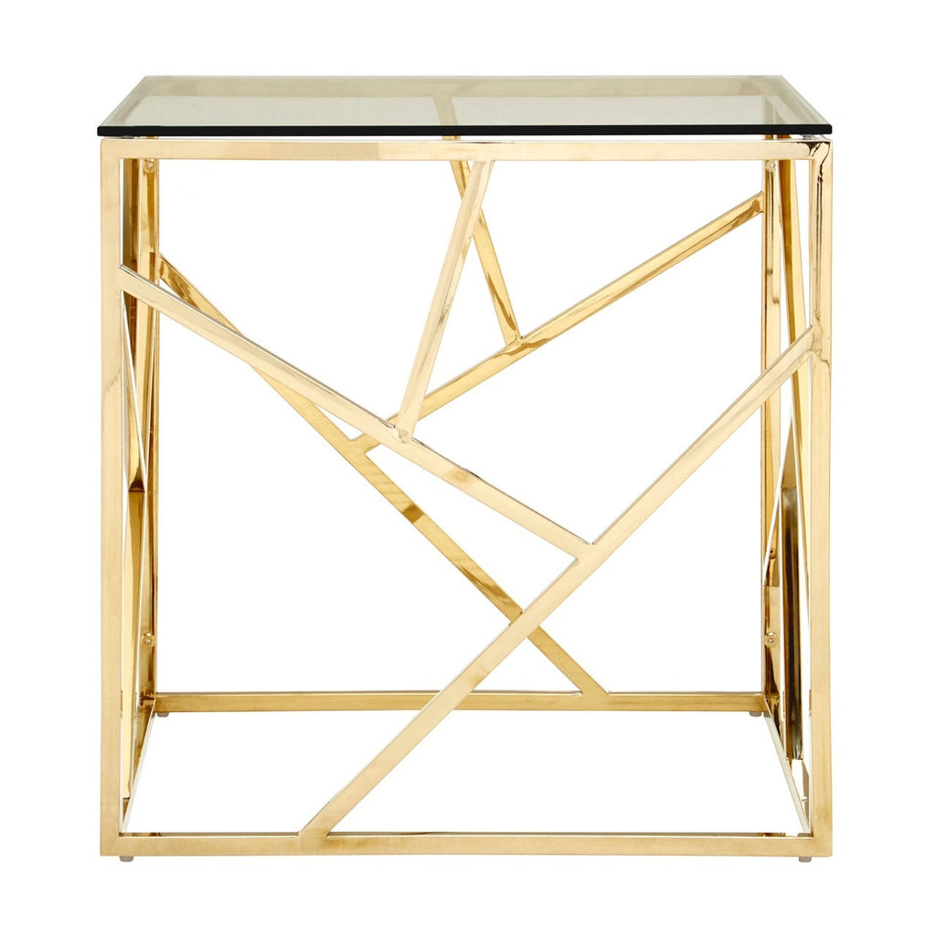 Gold Geometric End Table