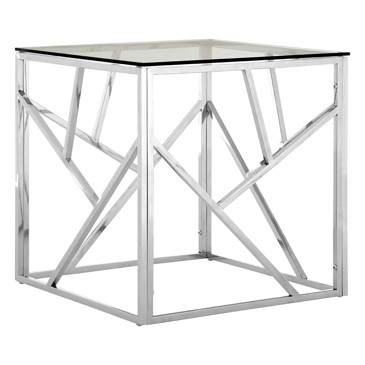 Silver Geometric  End Table