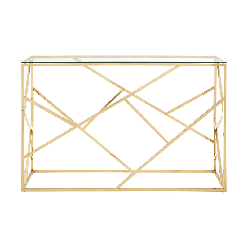 Gold Geometric Console Table
