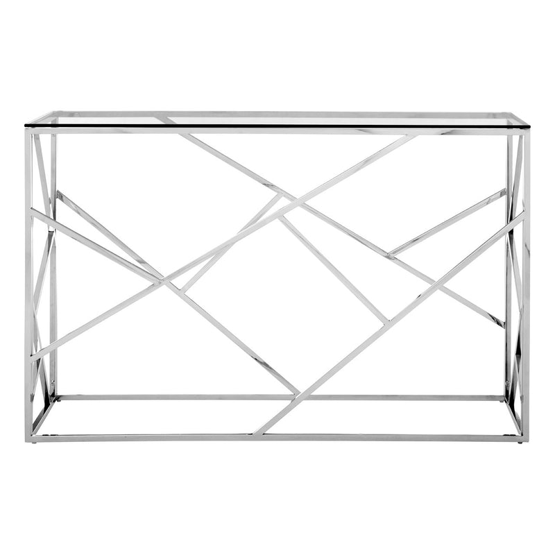 Silver Geometric Console Table