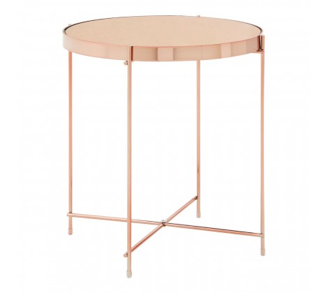 Rose Gold Mirrored Side Table