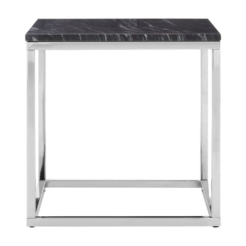 Black Marble Square Side Table