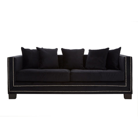 Manhattan Black Velvet Sofa