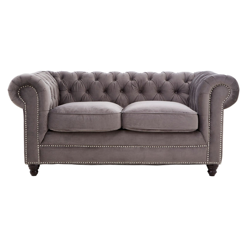 Grey 2 Seater Velvet Sofa