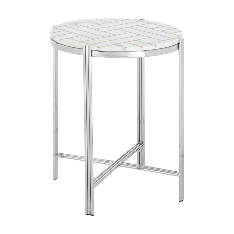 Eva White Marble Side Table