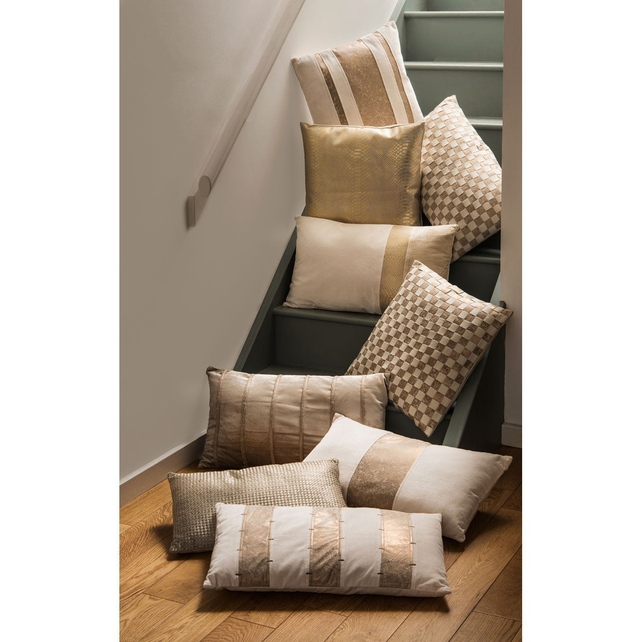 Gold Effect Striped Cushion