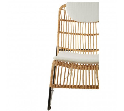 Rattan Lounge Chair with Stool