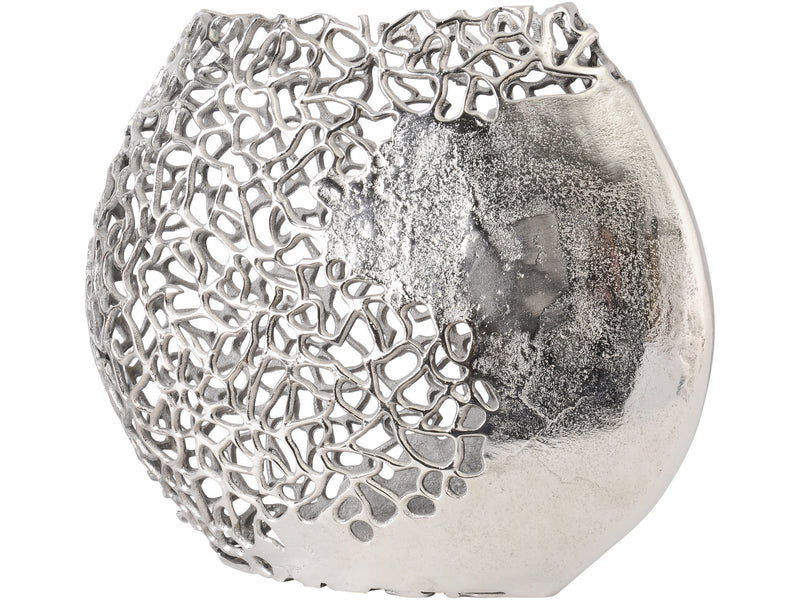 Silver Coral Effect Disc Vase