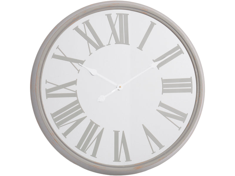 Antique Grey Mirrored Wall Clock