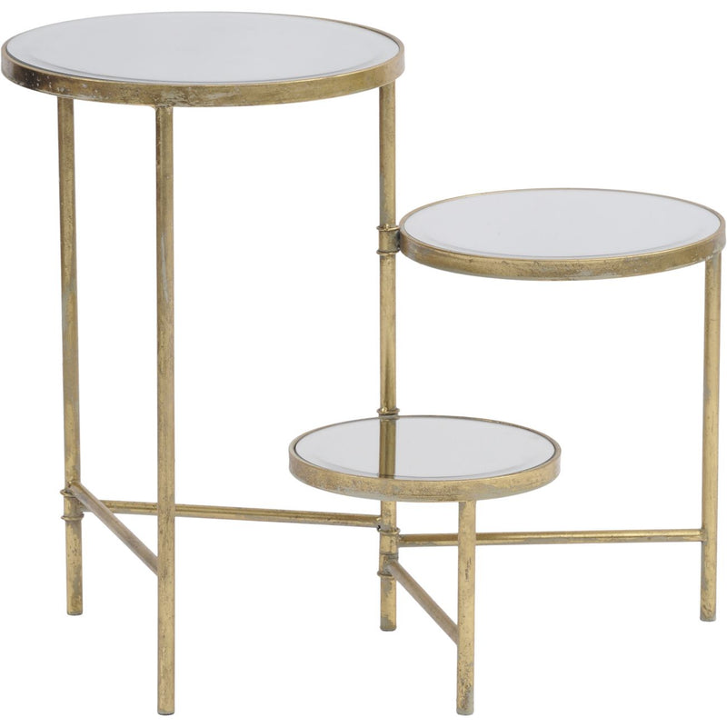 Three Tiered Gold Side Table