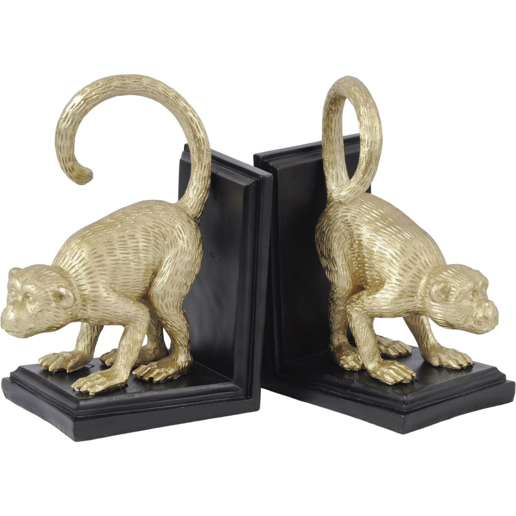 Gold and Black Monkey Bookends