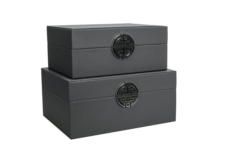 Dark Grey Faux Leather Boxes