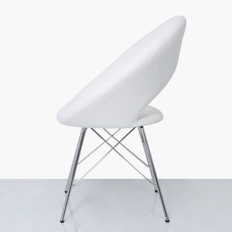 White Leather Round Chair
