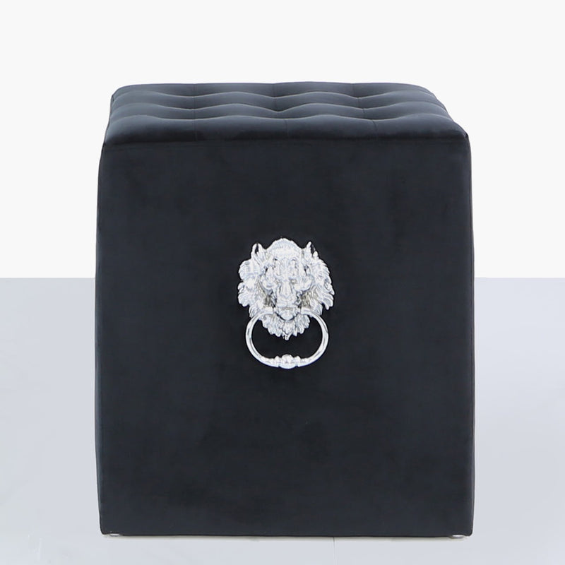 Black Velvet Lion Head Stool