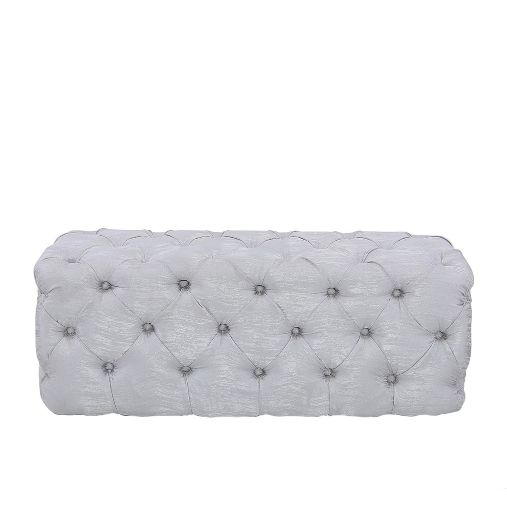 Silver Tufted Bench