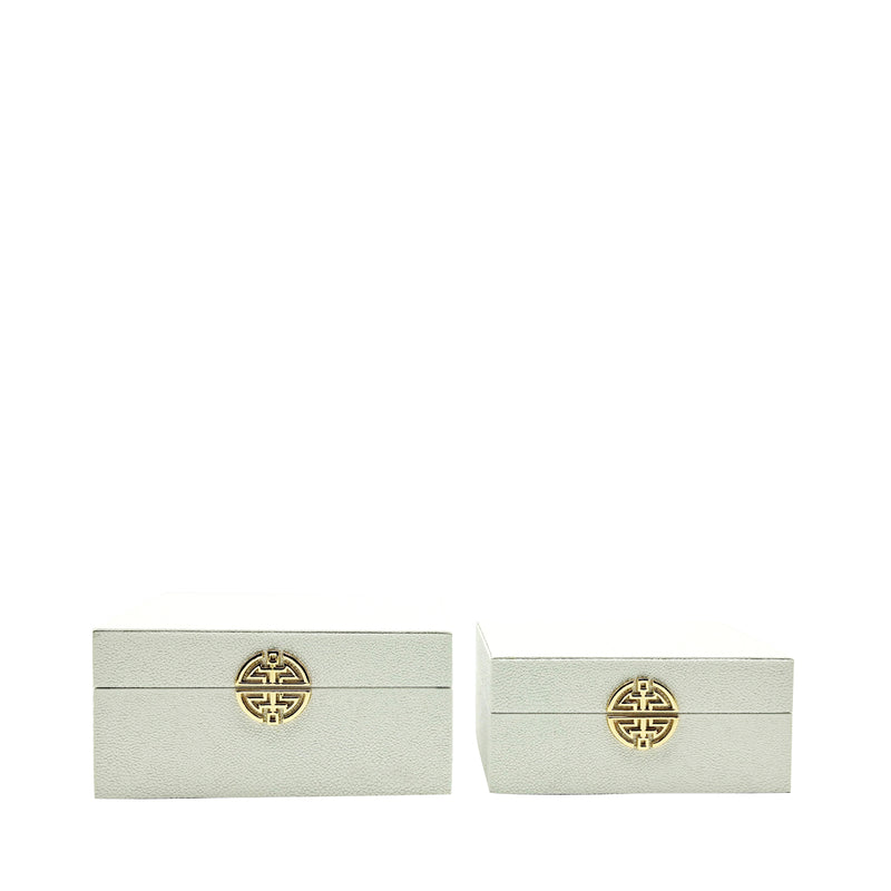 White And Gold Faux Leather Boxes