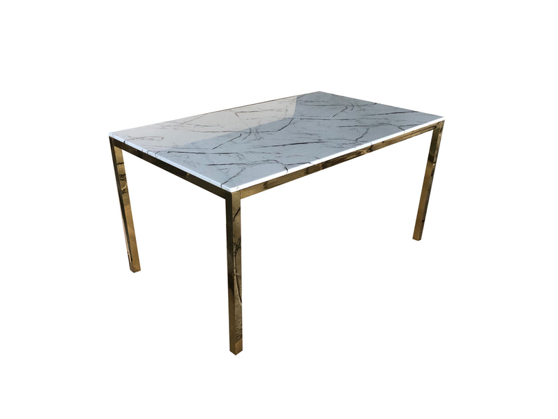 Gold Marble Rectangular Dining Table