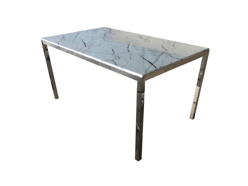 Silver Marble Rectangular Dining Table