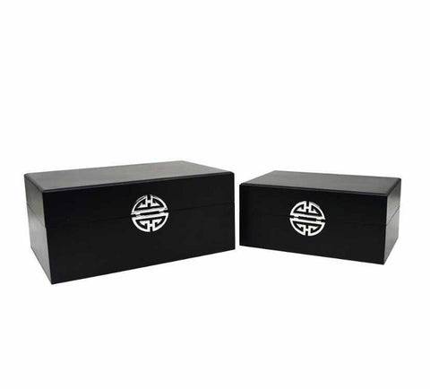 Set of 2 Black Faux Leather Boxes
