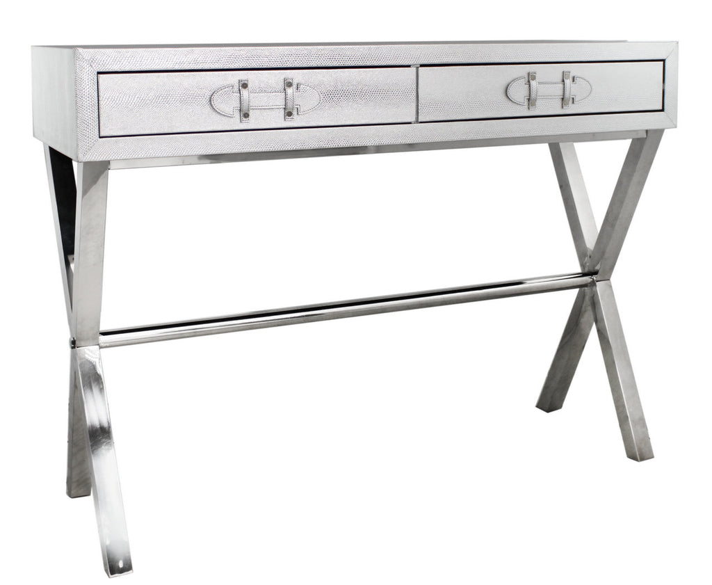Silver Faux Leather Console Table