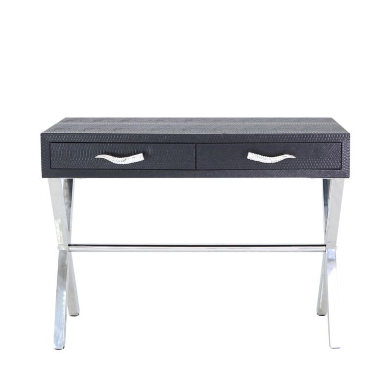 Black Faux Snakeskin Console Table