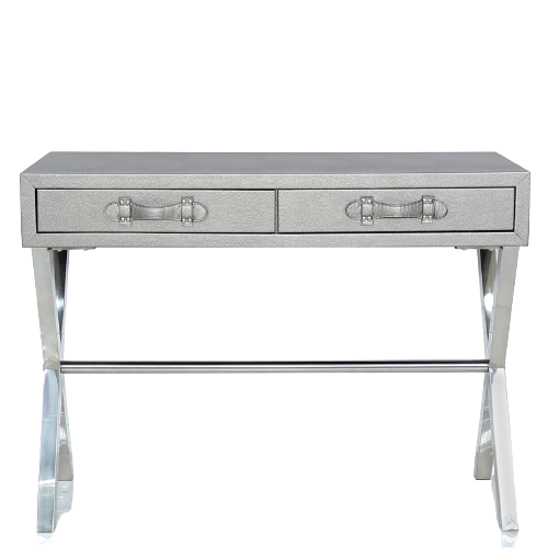 Pewter Faux Leather Console Table